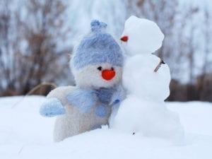 Bonhomme de neige et peluche